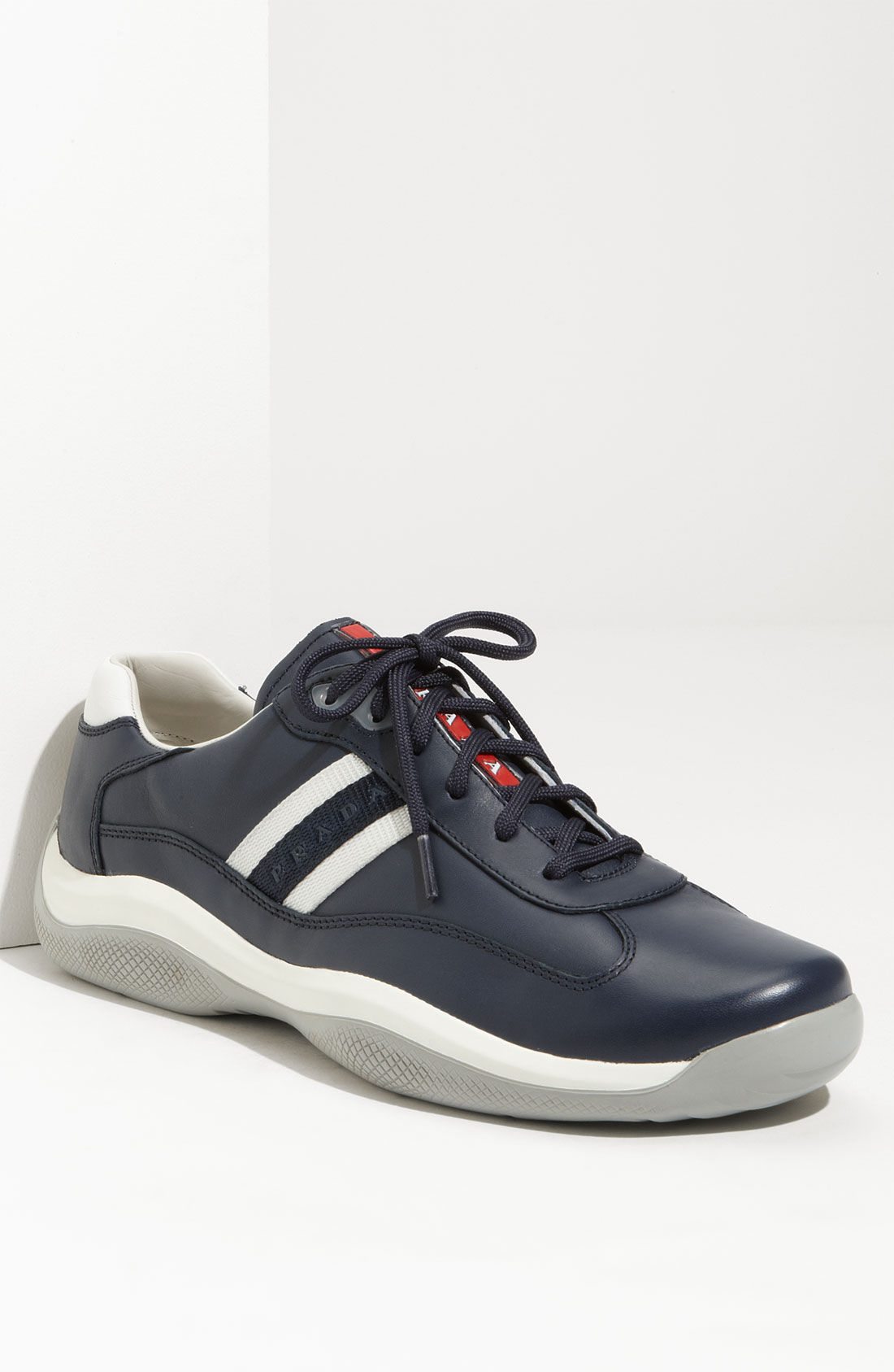 Prada Leather Lace-up Sneakers in Blue for Men | Lyst