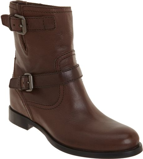 prada wedge moto ankle boot in brown gunmetal lyst
