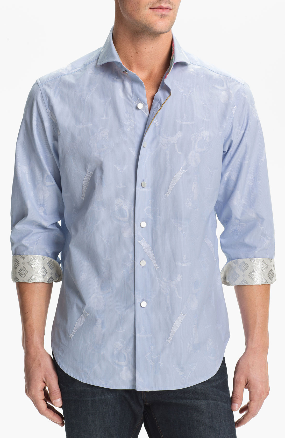 Robert graham sereno sport shirt limited edition in blue for Where are robert graham shirts made