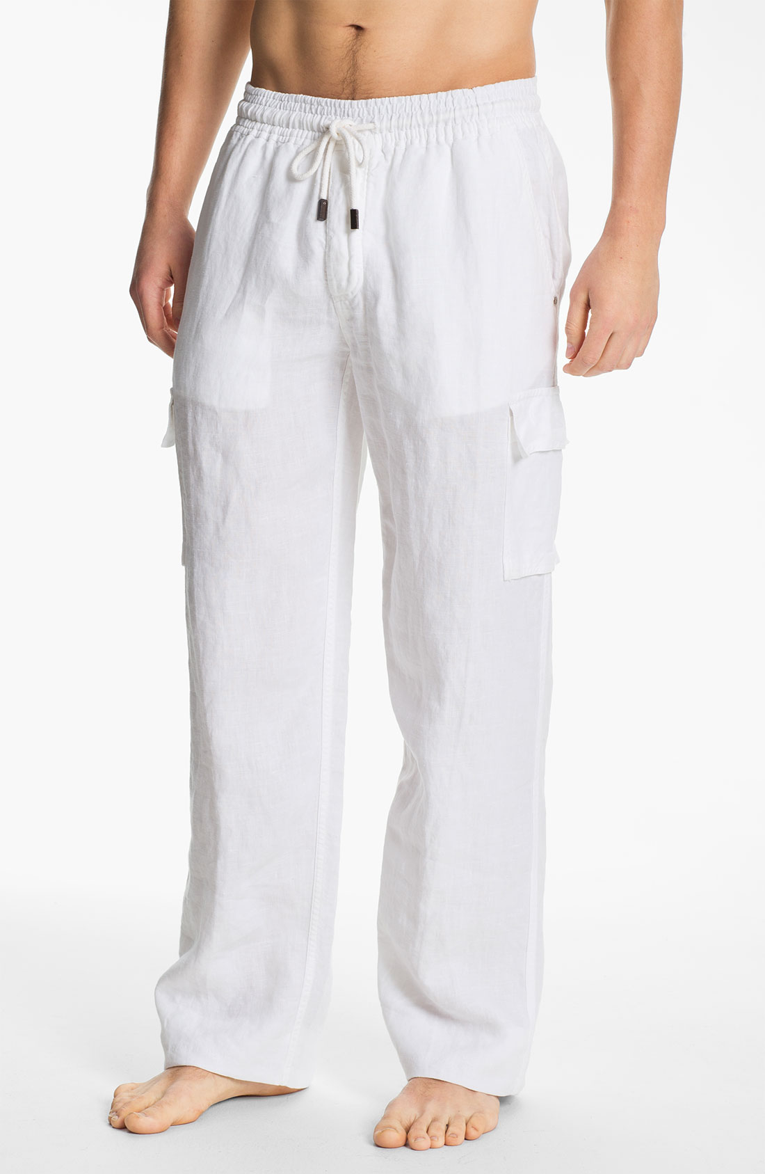 white linen pants mens drawstring - Pi Pants
