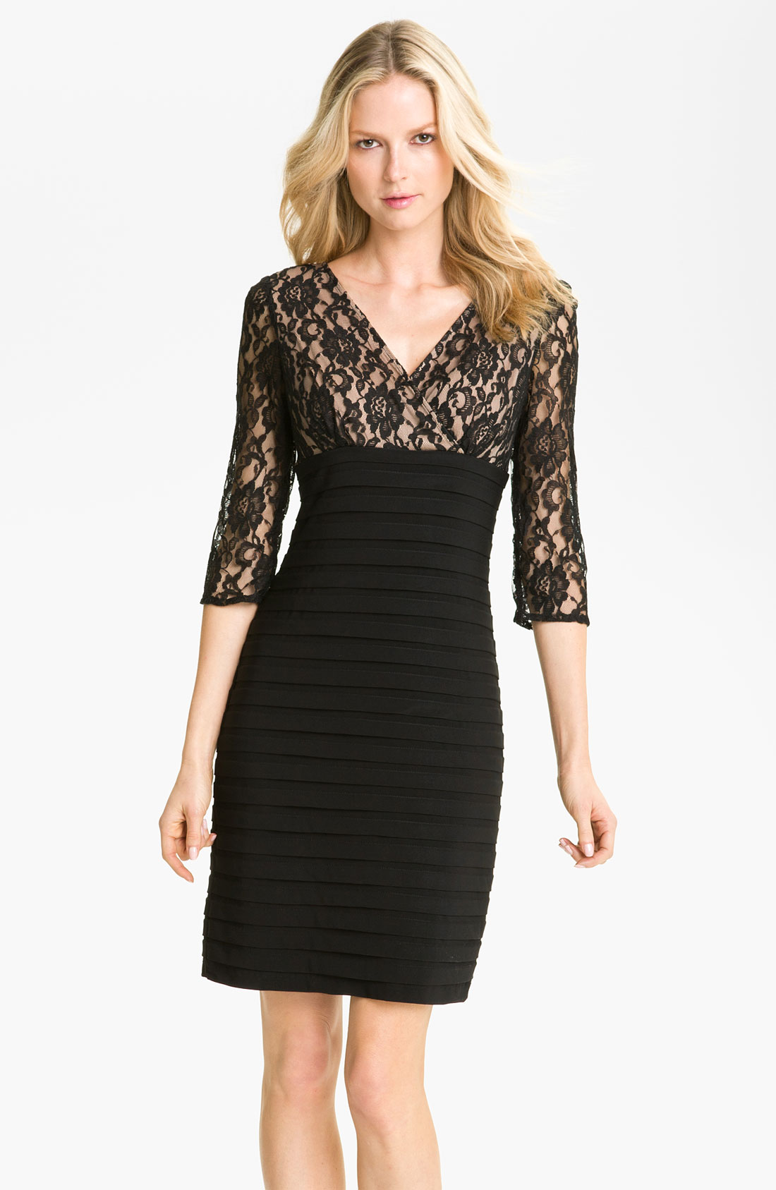 Black Lace Empire Waist Dress