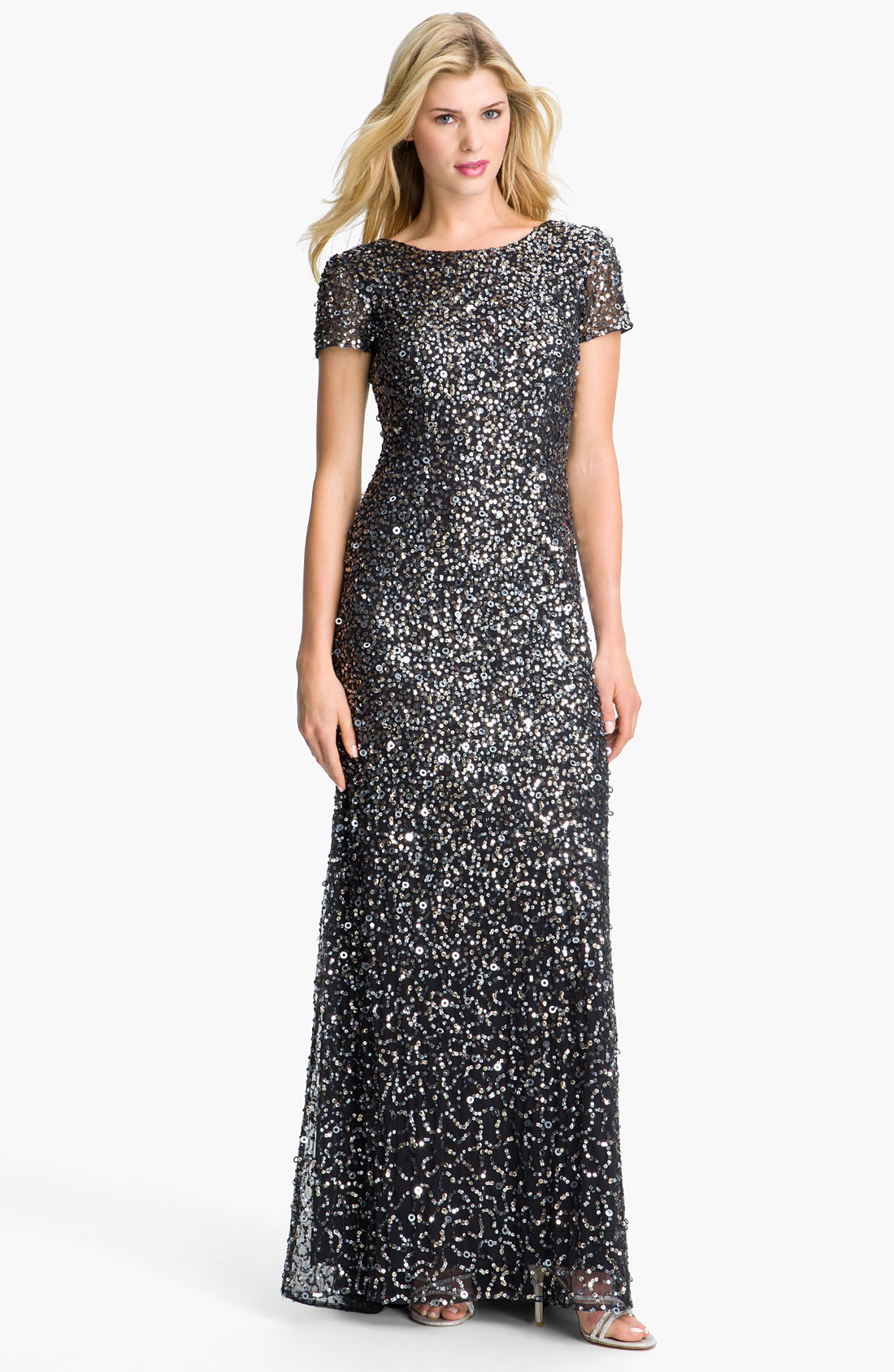 Adrianna papell Short Sleeve Sequin Mesh Gown in Silver