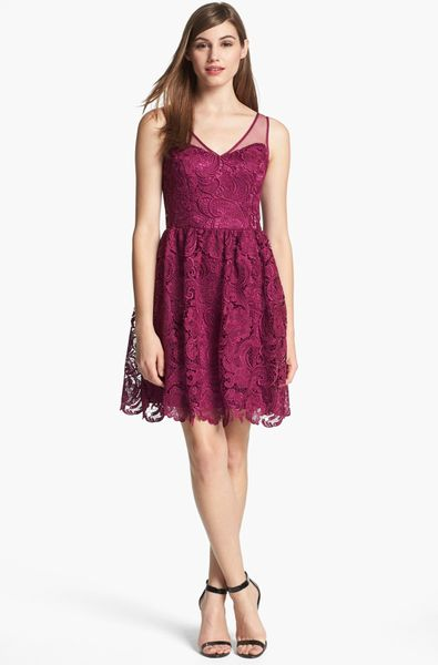 Adrianna Papell Mulberry Lace Fit Flare Dress Size 8 360