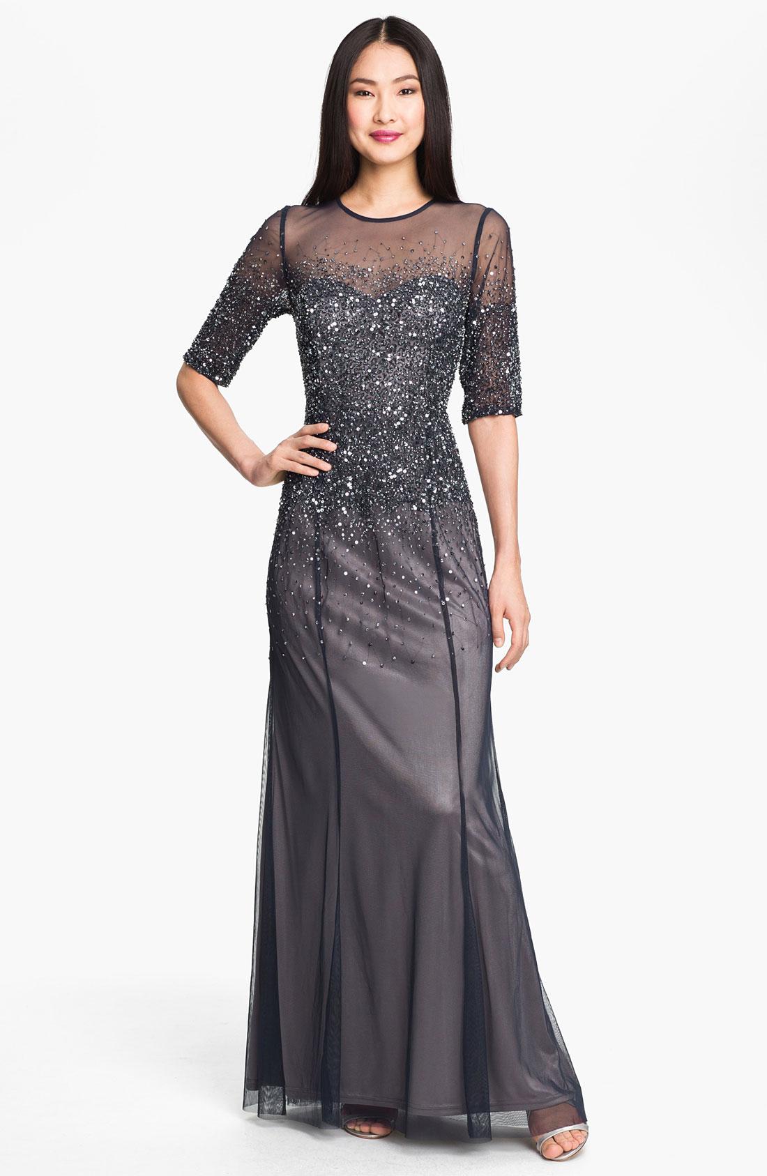 Adrianna papell beaded illusion bodice mesh gown in blue for Boda en jardin vestidos