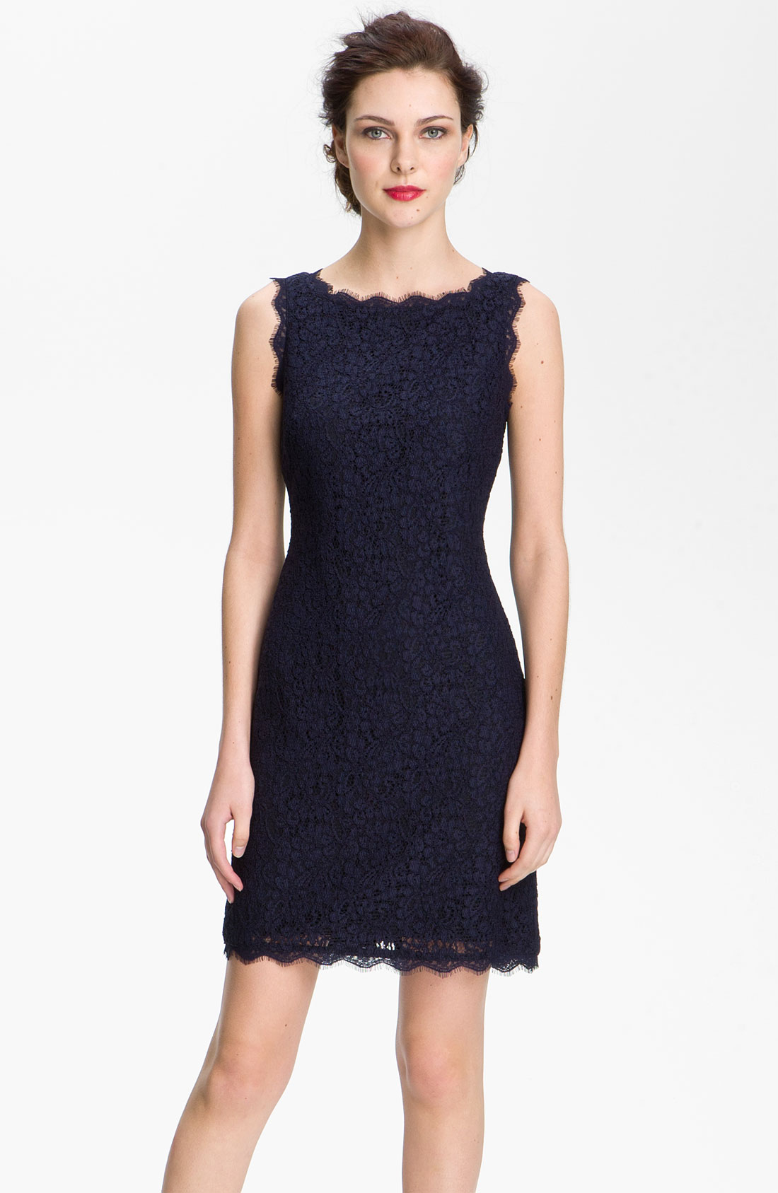 Adrianna Papell Boatneck Lace Sheath Dress In Blue Navy