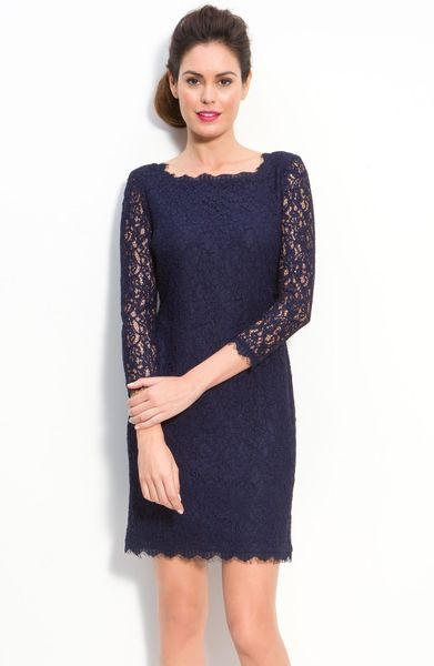 ... Papell Petite Women'S Long Sleeve Lace Sheath Dress in Blue (navy