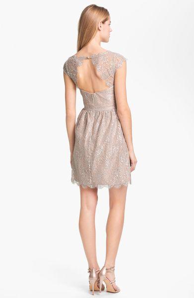 Aidan Mattox Metallic Lace Fit Flare Dress In Silver Lyst