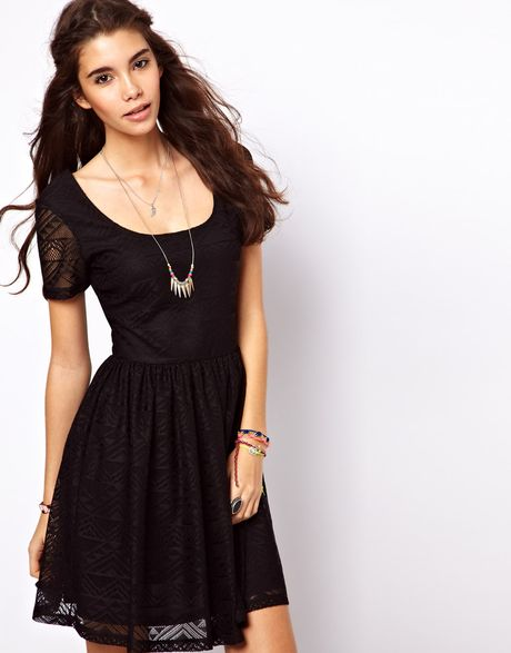 asos skater dress in aztec lace in black lyst