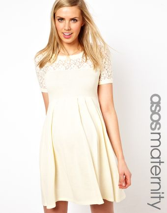 Asos  Knitted Dress with Lace Insert - Lyst