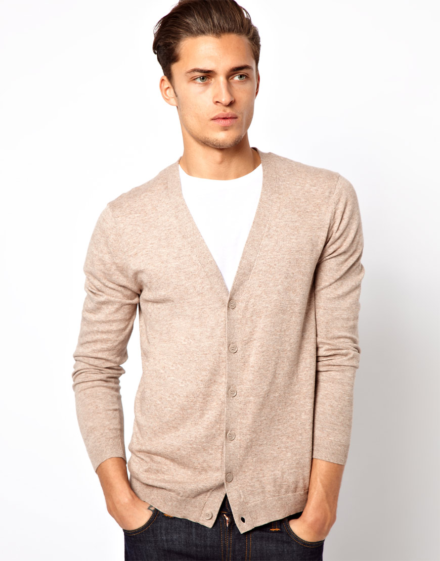 Lyst Asos Cardigan With Elbow Patches In Natural For Men