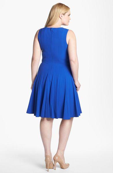 Calvin Klein Sleeveless Fit Flare Dress In Blue Atlantis