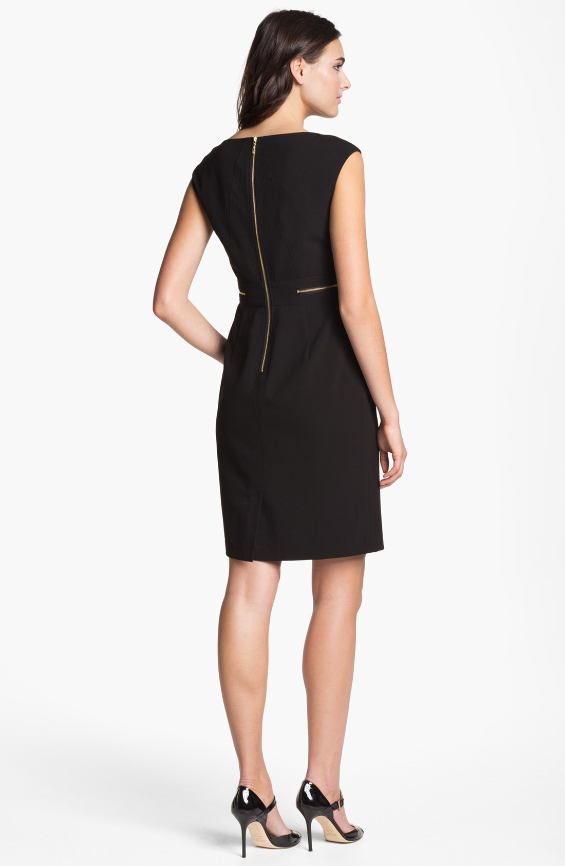 calvin klein black dress with gold zippers