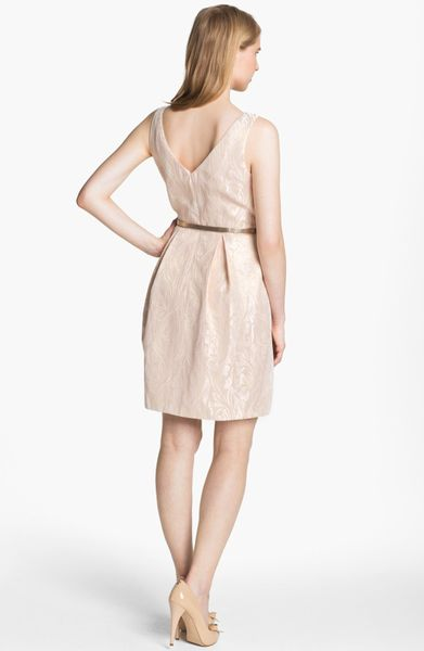 Eliza J Sleeveless Brocade Fit Flare Dress In Pink Pink
