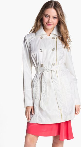 Guess Cinch Waist Trench Coat In White Ivory Lyst