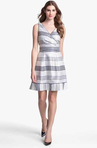Jessica Simpson Stripe Fit Flare Dress In White Navy Blue