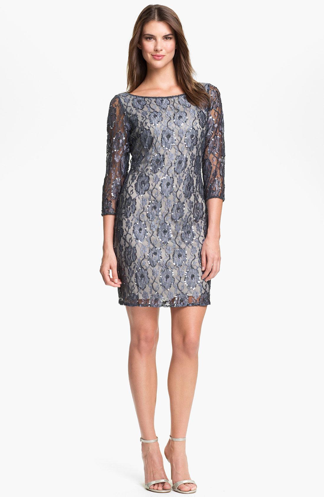 Pisarro Nights Embellished Lace Sheath Dress in Gray (grey)   Lyst