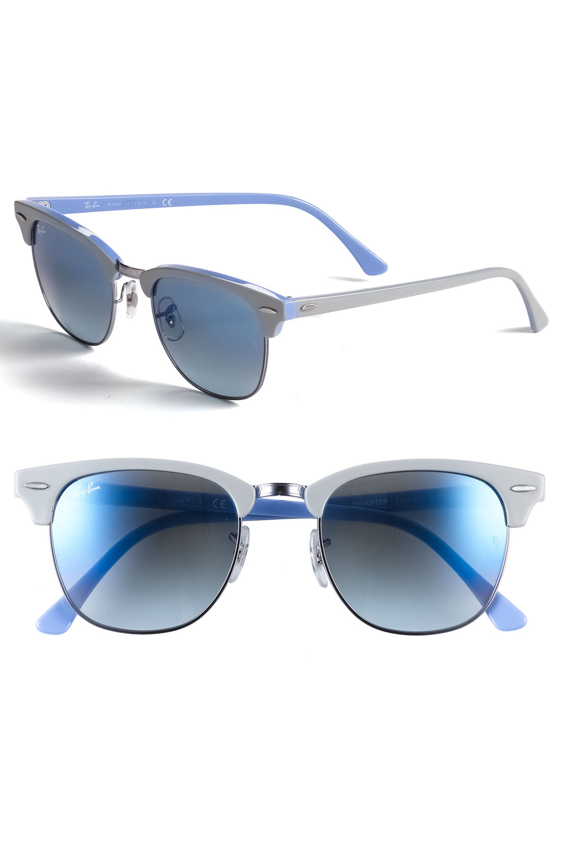 ray ban clubmaster 51mm sunglasses in blue grey on blue mirror gradient lyst. Black Bedroom Furniture Sets. Home Design Ideas