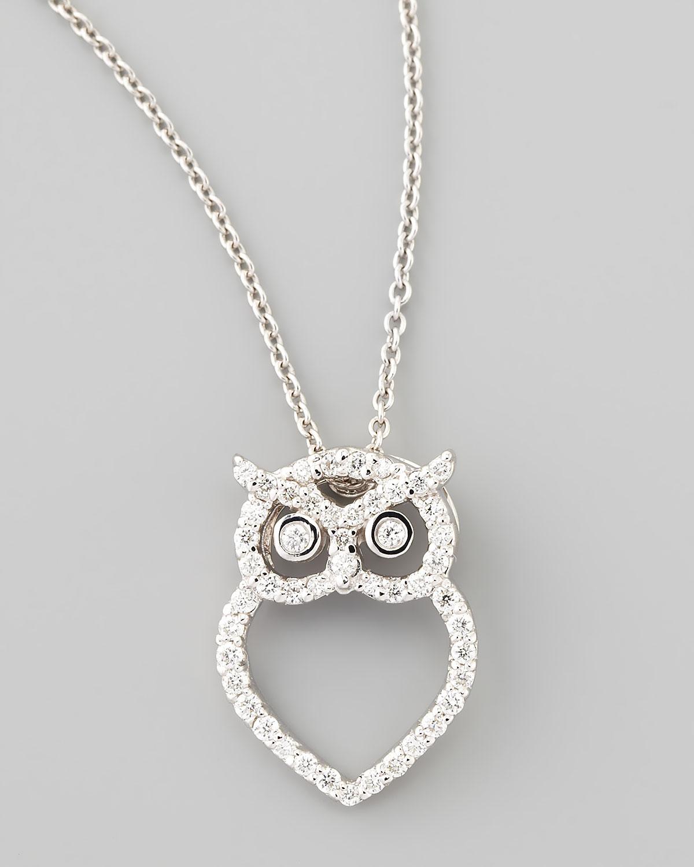 roberto coin 18k white gold diamond owl necklace in white