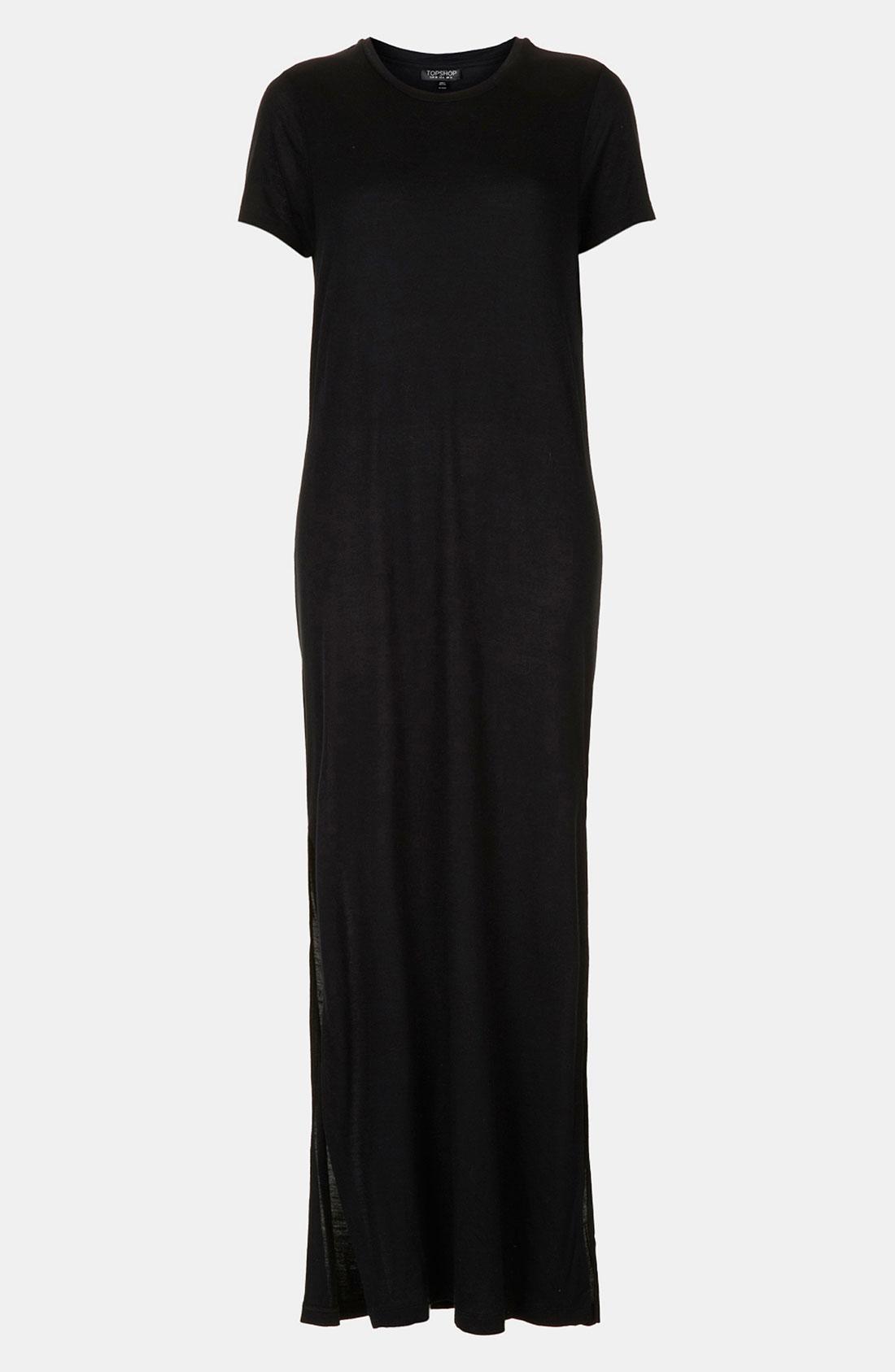 Topshop Side Split Tee Maxi Dress In Black Lyst