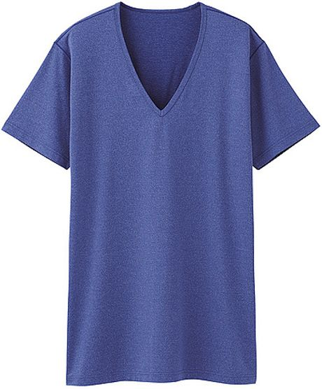 Uniqlo Airism V Neck Short Sleeve T Shirt In Blue For Men