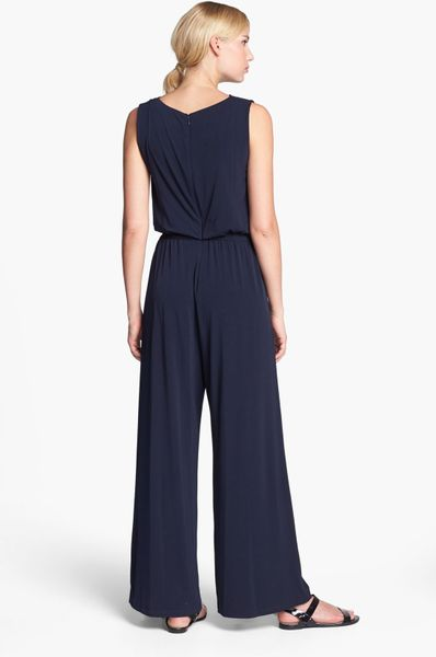 Vince Camuto Jersey Jumpsuit In Blue Navy Lyst