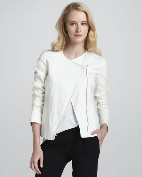 Vince Leather Sleeve Asymmetric Jacket in White