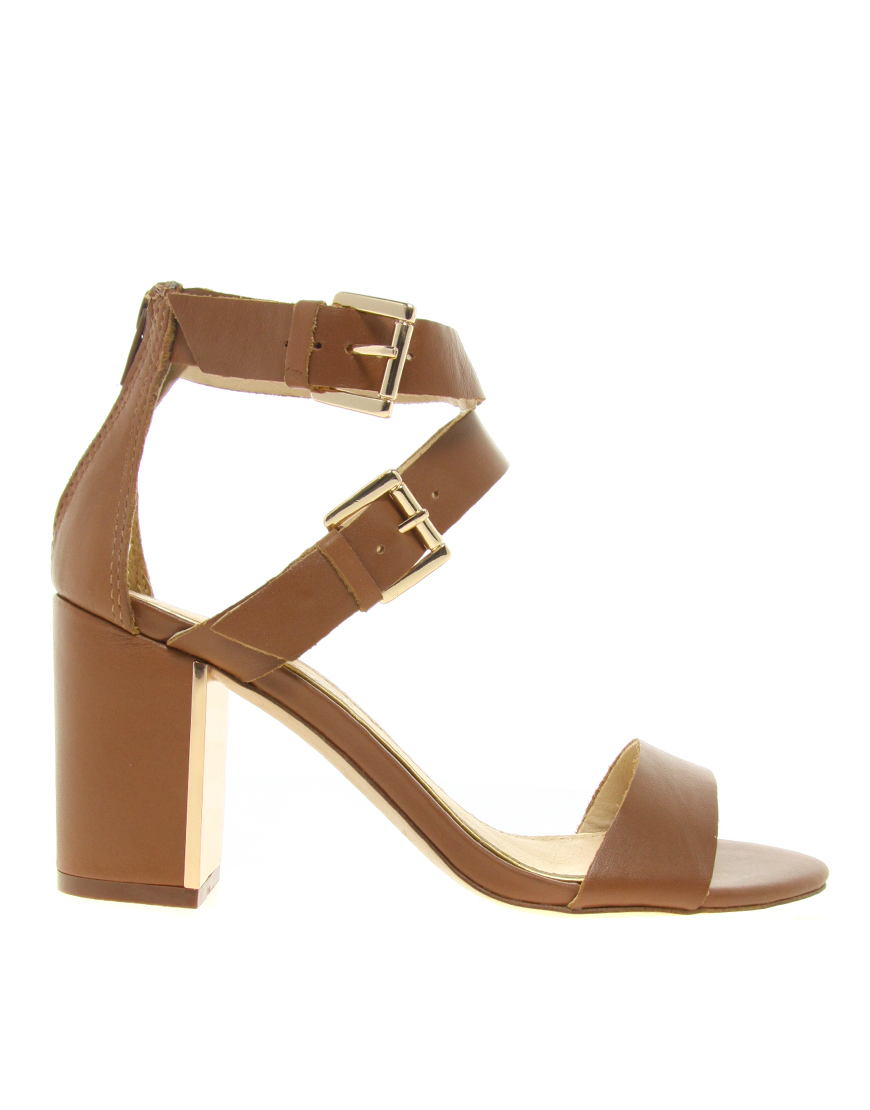 d9a7d80257fc Lyst - ALDO Kalika Double Strap Heeled Sandals in Brown