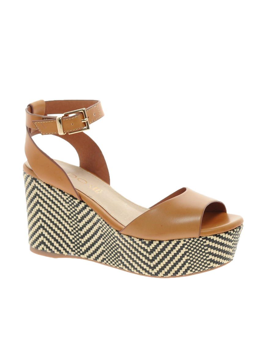 Aldo Taipa Platform Wedge Sandals In Brown Lyst