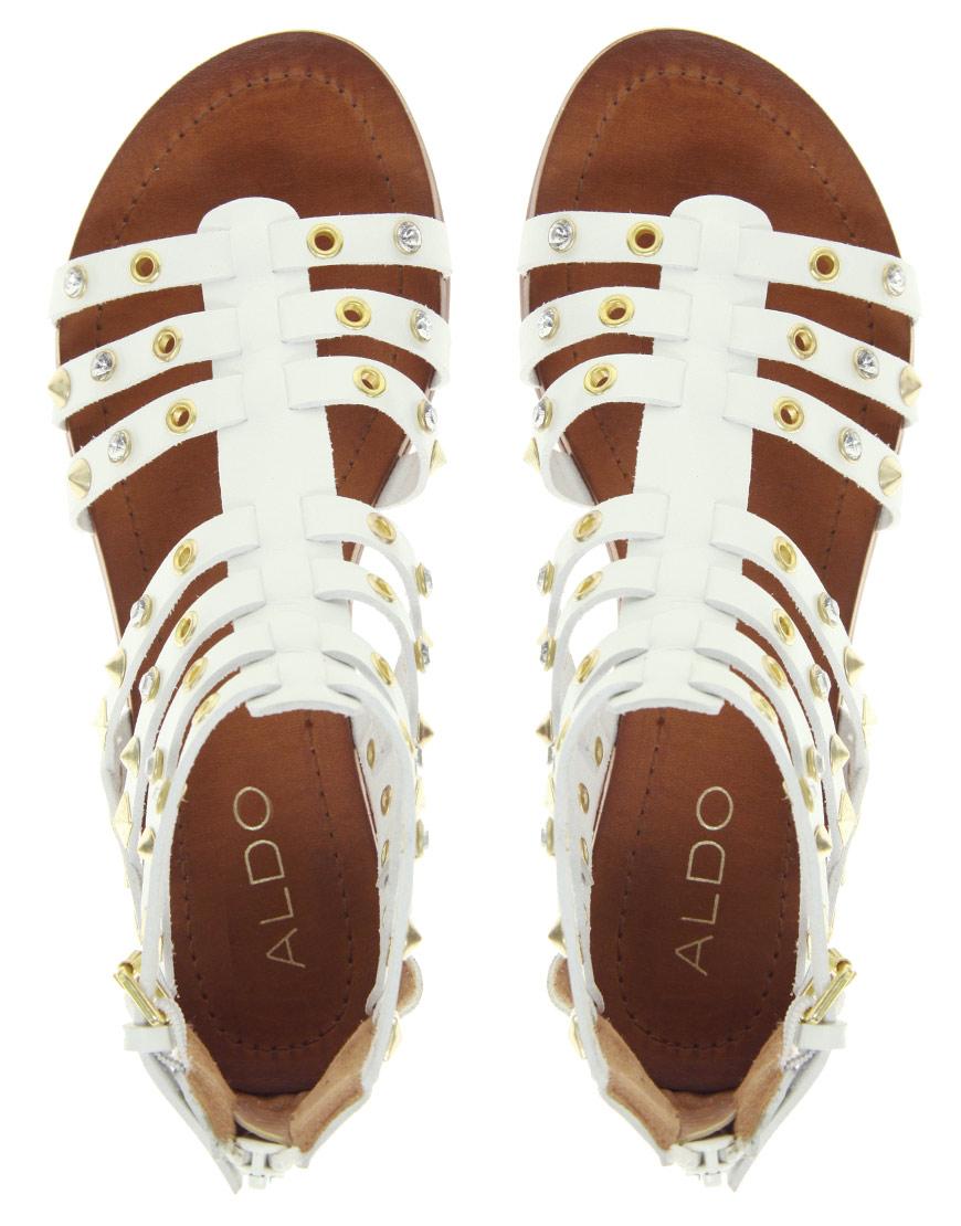 Lyst Aldo Brigida White Stud Gladiator Sandals In White