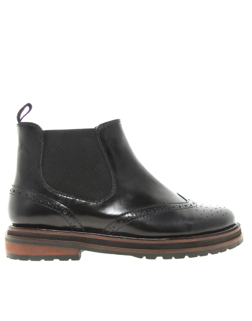asos alarming leather chelsea ankle boots in black lyst