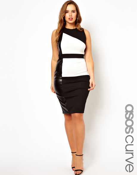 Asos Curve Dress In Colourblock With Leather Look Panel In