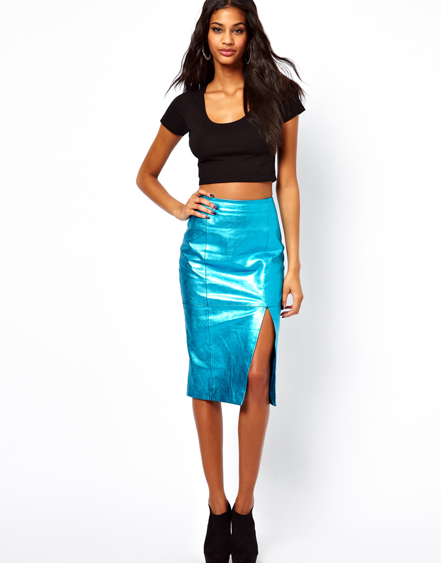 Asos Leather Pencil Skirt in Metallic in Blue | Lyst
