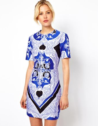 Asos Blocked Mini Dress in Scarf Print - Lyst