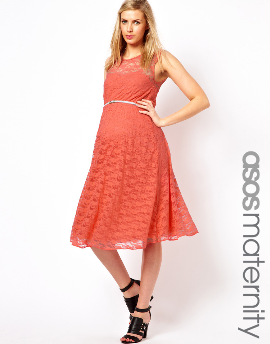 asos maternity lace midi dress with belt in pink lyst