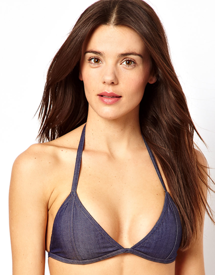 8663b298c4 ASOS Blue Denim Triangle Bikini Top