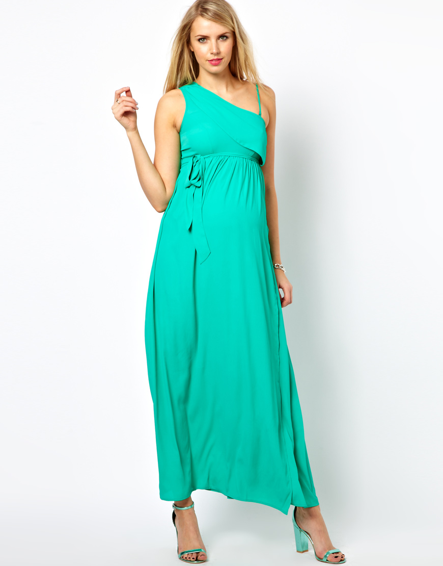 58213ec01d2 Lyst - ASOS Asos Maternity Exclusive Maxi Dress with One Shoulder in ...