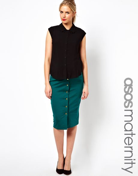 asos midi pencil skirt with gold buttons in black green