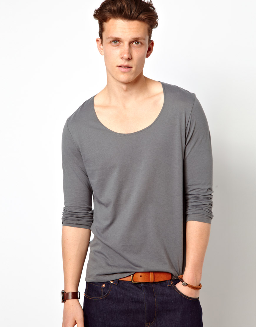 Lyst - Asos Long Sleeve T-Shirt with Scoop Neck and Boxy Fit in Gray for Men