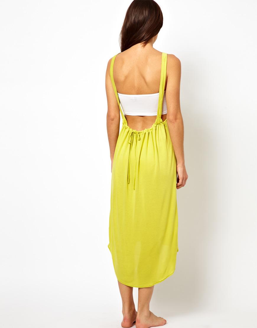 e1cfe6fb23b Lyst - ASOS Cut Out Back Midi Dip Hem Beach Dress in Yellow