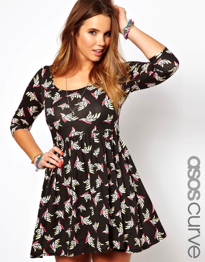 Asos Curve Exclusive Skater Dress in Bird Print   Lyst
