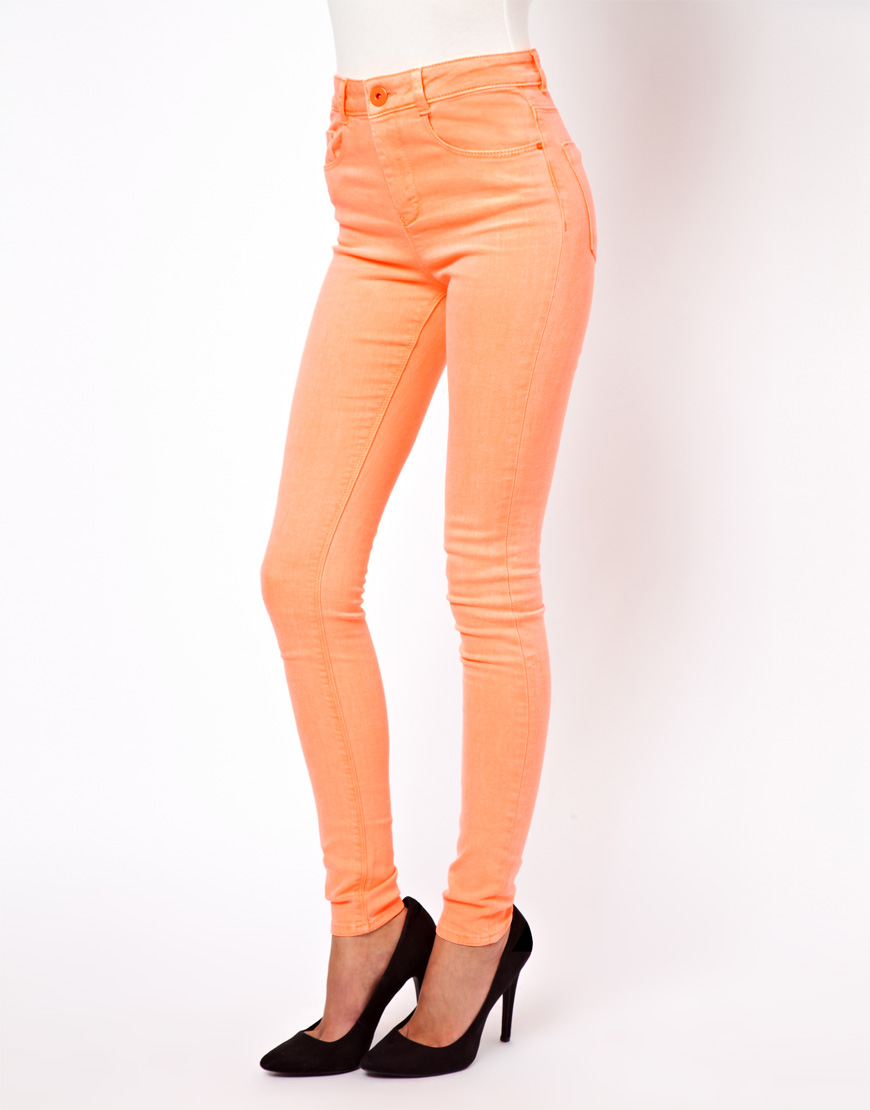 Asos Ridley Supersoft High Waisted Ultra Skinny Jeans in Neon ...