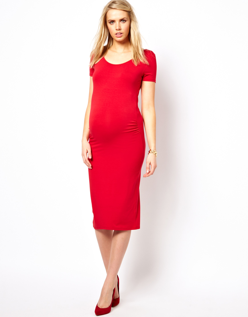 Asos maternity exclusive bodycon midi dress with cap sleeve in gallery ombrellifo Image collections