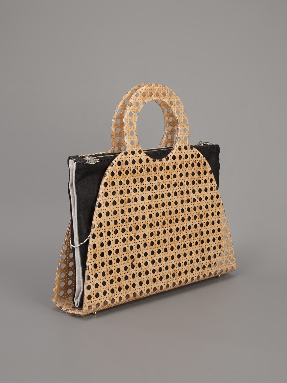 Charlotte Olympia Zehava Wicker Tote in Nude (Natural)