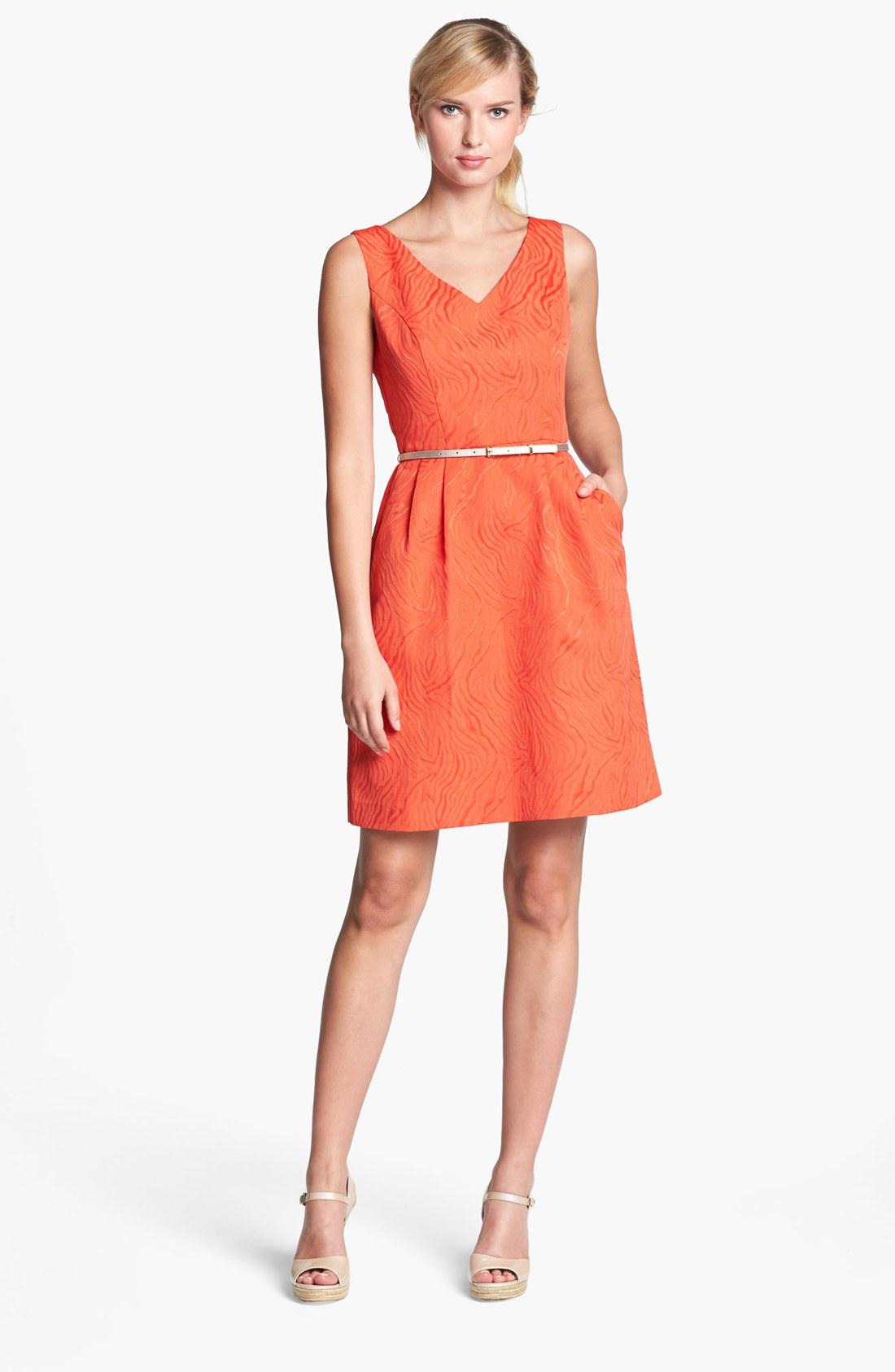 Ellen Tracy Jacquard Fit Flare Dress In Orange Lyst