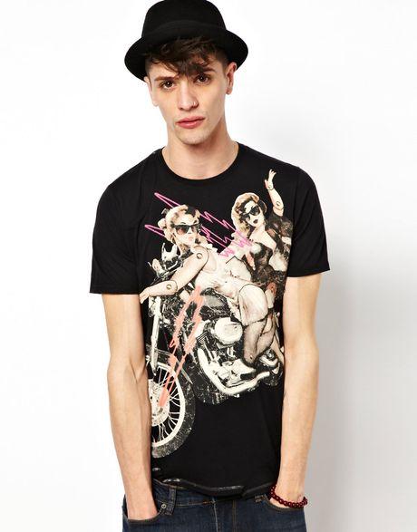 Elvis jesus t shirt with bike print in black for men lyst for Elvis jesus t shirt