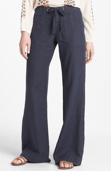 Unique  International Concepts Curvyfit Wideleg Linen Pants In Natural  Lyst