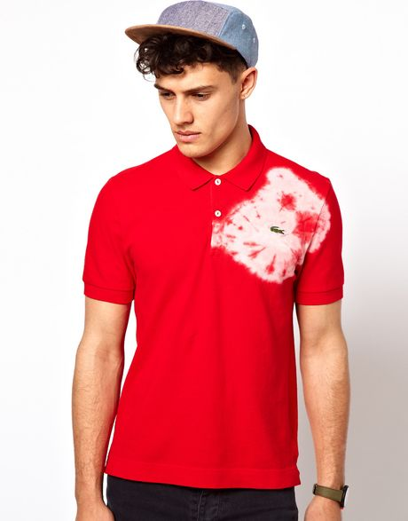 Lacoste Polo Shirt With Tie Dye In Red For Men Lyst