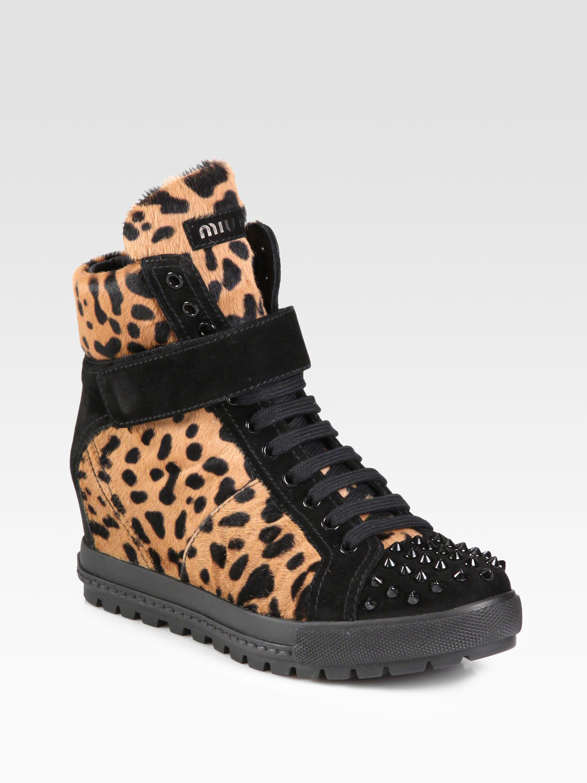 miu miu calf hair and studded suede wedge sneakers in black leopard lyst. Black Bedroom Furniture Sets. Home Design Ideas