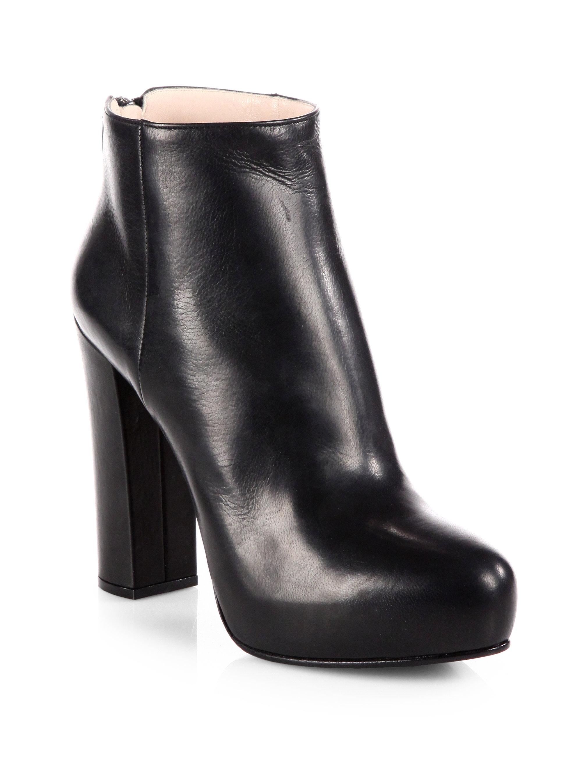 f3c6b2fa47 Prada Black Leather Platform Ankle Boots