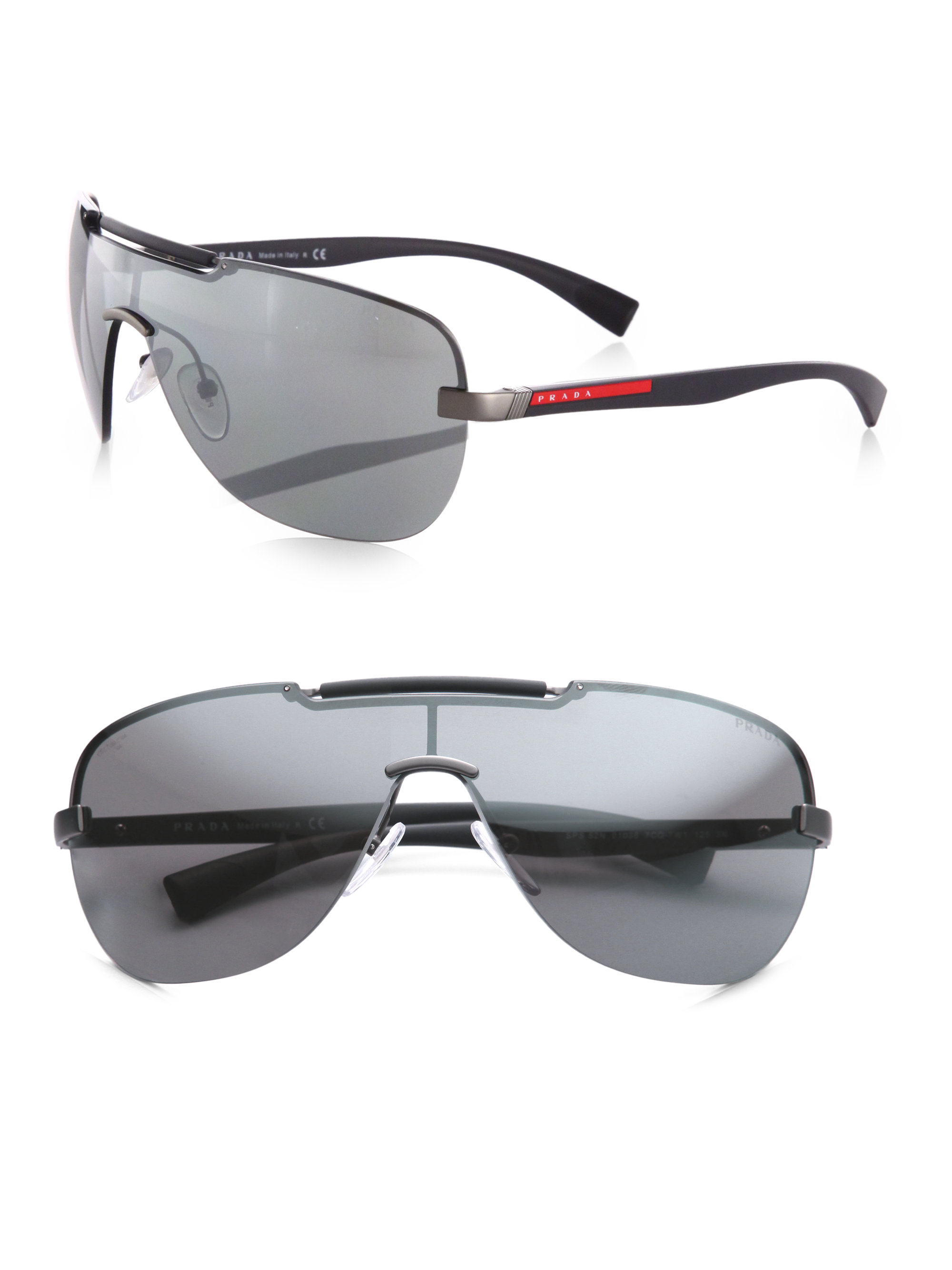 Prada Shield Sunglasses  prada metal shield sunglasses in metallic lyst